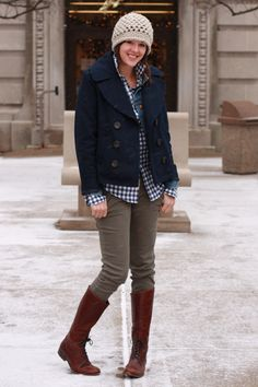 Love the low-heeled boots, peacoat, and hat... perfect for the first snow! I would just add a scarf!