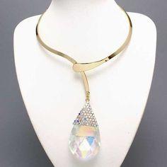 Striking Bold Gold Design Choker Big Ab Crystal Glass Faceted Tear Drop Necklace