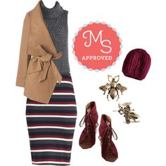 In this outfit: Engineer and Dear Top, Subsequently Chic Skirt, Preferred Pairing Coat, Beignet or Nay Hat, Bee Prepared Earrings, Alibi Heel #cozy #fall #fallfashion #style #knit #outfits #ootd #stripes #chic #streetstyle #nyfw #ModCloth #ModStylist #fashion