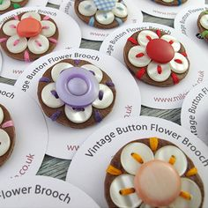 Vintage Button Flower Brooches
