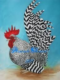Rooster Painting - Barred Japanese Bantam Rooster by Amanda Hukill Beautiful Chickens, Beautiful Birds, Animals Beautiful, Rooster Painting, Rooster Art, Rooster Images, Bantam Chickens, Chickens And Roosters, Fancy Chickens
