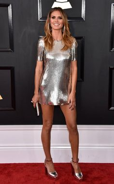 Heidi Klum from Grammys 2017 Red Carpet Arrivals In Philipp Plein