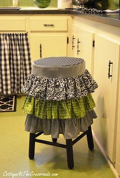 ruffled stool cover, design d cor, diy home crafts, furniture furniture revivals, kitchens, The stool cover was made with 4 different fabric...