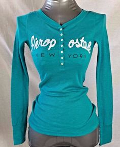 Aeropostale Womens Size XSmall Aqua Long Sleeve Button Down Rib Henley Top #Aropostale #ButtonDownShirt #Casual Listed: 11.1.17
