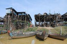 Stilted houses at Kampong Phluk Tonle Sap Lake Siem Reap; Cambodia