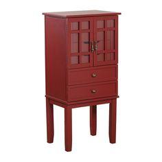 Powell Red Glass Door Jewelry Armoire - ON SALE! #jewelryarmoire #armoire