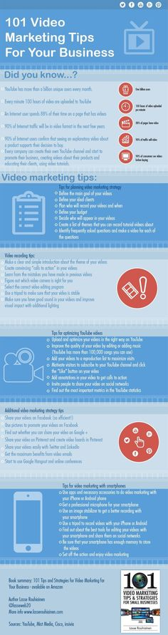 101 video marketing tips for your business #infografia #infographic #marketing
