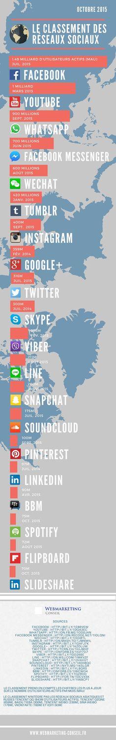 Quels sont les principaux réseaux sociaux en 2015 ? Quel est le nombre d'utilisateurs de chaque réseaux social ? Une infographie à jour