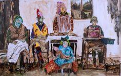 <span class='h1'>Farley Aguilar</span><br><br><em>Four Women Sewing </em><br>2012, Ink on Mylar, 39″ x 25″