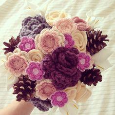 Crochet flower bouquet woodland wedding bride http://Facebook.com/florachet