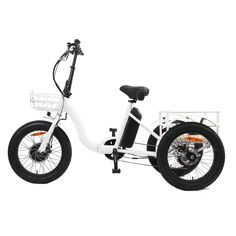 """The 20"""" City Model NEW TRIKE E-Bike Specifications MOTOR: 48V/500W SHENG YI motor HIGH TORQUE installed in front wheel FRAME: Aluminum Alloy 17.7inch MAXIMUM SPEED: 18 MPH BATTERY RANGE: 30-40 Miles BATTERY CHARGING TIME: 4 - 6 hours BATTERY TYPE: Lithium-Ion BATTERY CAPACITY: 48V/12.5Ah BOX DIMENSIONS: (cm) :113L x 70W x 84H THROTTLE: Thumb Throttle (power at your hand is always available) DISPLAY: LCD panel Sensor:Cadence sensor HEADLIGHT: Front LED Headlight TAILLIGHT: Rear LED Light REAR… Electric Tricycle, Folding Electric Bike, Led Headlights, Best Electric Bikes, Adult Tricycle, Tail Light, City Model, Aluminium Alloy, Matte Black"""
