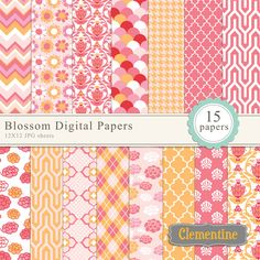 Blossom digital papers - set of 15 beautiful papers to be used for cardmaking, stationery, invitations, digital scrapbooking and more.