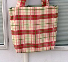 Pink Green and Cream Plaid Tote by lovelylovedesigns on Etsy, $16.00
