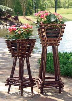 Take a look at this Twig Plant Stand Set by Accent Your Home Collection on today! Twig Crafts, Garden Crafts, Garden Projects, Homemade Garden Decorations, Rustic Outdoor, Outdoor Decor, Willow Furniture, Twig Art, Garden Basket