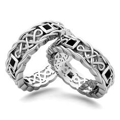 Matching Wedding Bands: Princess Cut Diamond Celtic Ring in Platinum. This matching wedding ring showcases his and hers wedding bands set in platinum Celtic knot rings with princess cut black diamonds. Perfect wedding set as couple rings for men and women.