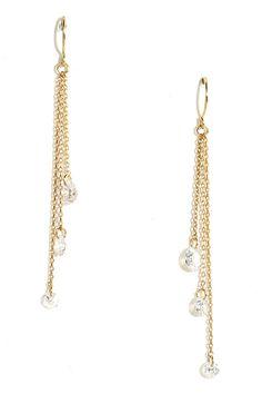 Delicate Balance Gold Rhinestone Earrings//