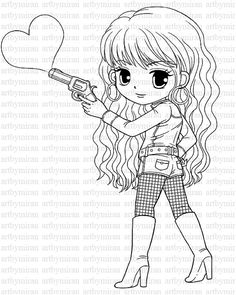 Digi StampLove Shot Pretty Girl Coloring page Heart by artbymiran, $2.00