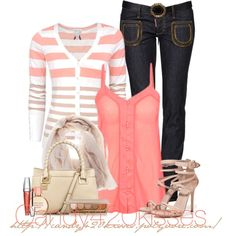 Love the Layered Pockets and the Light Hint of Pink. Color Scheme: Pink White Jean