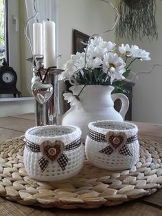 Einfach nur weiß! Quick Crochet, Knit Crochet, Crochet Home, Kitchen Items, Pot Holders, Kitchen Accessories, Creations, Crochet Projects, Crochet Patterns