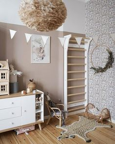 Perfect boho beige playroom idea and design for your kid's room. FitWood wallbars: Scandinavian design for the whole family. Made in EU with sustainab Interior Room Decoration, Playroom Decor, Room Interior, Interior Decorating, Kid Playroom, Home Decor, Playroom Ideas, Diy Decoration, Scandinavian Kids Rooms