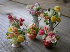 Little Flowers, Tiny Flowers, Paper Flowers, Minis, Miniature Plants, Miniature Gardens, Flower Landscape, Mini Plants, Polymer Clay Flowers
