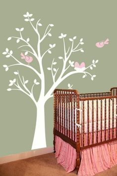 Tree Vinyl Wall Decal- I love this idea for a baby's room.
