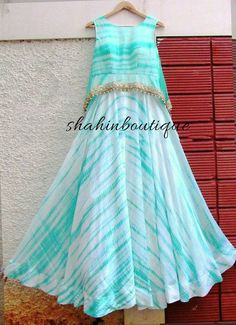Handmade Tie and Dye sleeveless Chiffon Long Gown/Frock Indian Gowns Dresses, Indian Outfits, Dress Neck Designs, Blouse Designs, Chudidhar Designs, Stylish Dresses, Fashion Dresses, Long Gown Dress, Long Frock