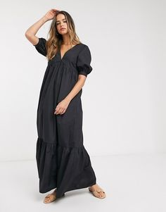 Buy ASOS DESIGN Tall cotton poplin v front v back tiered maxi dress in black at ASOS. With free delivery and return options (Ts&Cs apply), online shopping has never been so easy. Get the latest trends with ASOS now. Asos, Tall Women, Poplin, Cold Shoulder Dress, Skirts, Cotton, Shopping, Black, Dresses