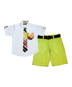 Another great find on #zulily! Lime & Blue Plaid Button-Up Set - Toddler & Boys #zulilyfinds