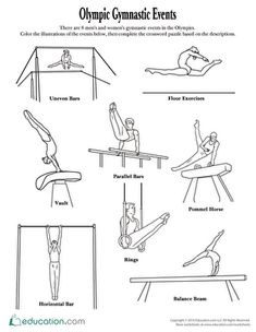 This gymnastic events coloring page and crossword puzzle makes for a fun and educational activity to accompany watching the Olympic Games this summer. Gymnastics Camp, Gymnastics Events, Gymnastics Coaching, Artistic Gymnastics, Olympic Gymnastics, Cheerleading Quotes, Cheer Quotes, Olympic Badminton, Cheer Stunts