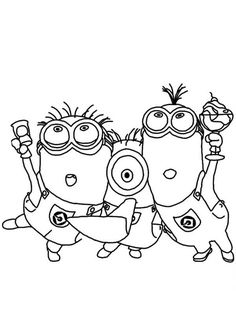 Three Minion Sing And Dance Coloring Page