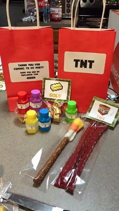 Minecraft Party TNT Treat bags party favors - printables for Minecraft party… Minecraft Birthday Party, 6th Birthday Parties, Birthday Bash, Birthday Ideas, Mindcraft Party, Childrens Party, Party Time, Treat Bags, Party Printables