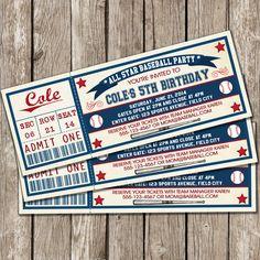 Béisbol del vintage Ticket invitación por LittleMsShutterbug