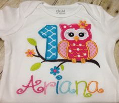 Owl Birthday Outfit Very bright and fun by GaynellesGirlyGetUp Owl First Birthday, First Birthday Parties, First Birthdays, Birthday Ideas, Birthday Outfits, Owl Parties, Cute Owl, Kid Names, Onesies