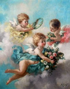 Charles Augustus Henry Lutyens (British, Amorini amidst garlands on a cloud Vintage Pictures, Vintage Images, Decoupage, Vintage Illustration, Angel Images, I Believe In Angels, Angels Among Us, Angels In Heaven, Heavenly Angels