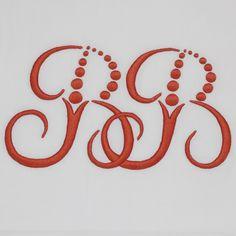 Julia B. A11 Monogram in Coral embroidery thread