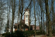 """The Doubská Mountain observation tower was built on the highest place in Karlsbad (Karlovy Vary), as the third in a row. The first wooden """"scenic. The Row, Tower, Cabin, House Styles, Building, Places, Home Decor, Plant Bed, Decoration Home"""
