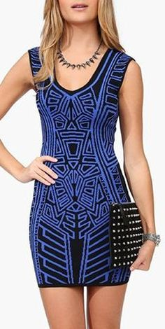 Geometric Tank Dress in Black/Blue ♥