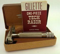 """Found this """"vintage"""" Gillette Tech Razor, ranger Model. Wet Shaving, Shaving Cream, After Tattoo Care, Mustache Grooming, Barber Shave, Best Shave, Vintage Medical, Safety Razor, Vintage Bathrooms"""