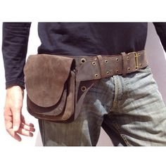 2 Pocket men's leather belt bag in brown, belt pouch, hip bag ...
