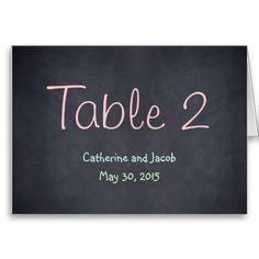 Chalkboard Look Wedding Table Number Card