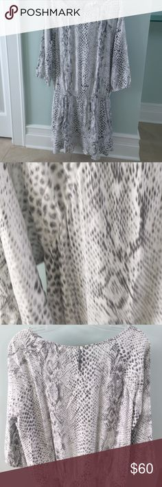 Reptile print drop waist dress Brand new drop waist rayon dress by SOFT for Joie. 3/4 length sleeves.  3 inch ruffle at bottom. Runs small. Fits like 6/8 SOFT by Joie Dresses Mini
