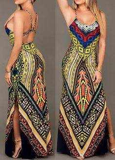 Open Back Round Neck Printed Maxi Dress with cheap wholesale price, buy Open Back Round Neck Printed Maxi Dress at Rotita.com !