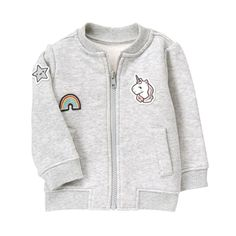 Baby Heather Grey Patch Bomber Jacket by Gymboree c67fd0ef6fc5
