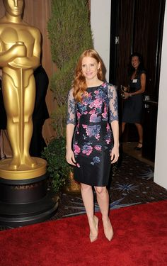 Oscar Nominees Celebrate at a Star-Studded Lunch in LA: Jessica Chastain looked fabulous in a floral dress at the 2013 Academy Awards Nominations Luncheon in Beverly Hills on Monday.