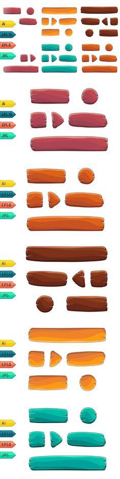 Game UI cartoon wooden buttons set.. UI Elements