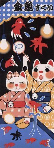 Maneki-neko-Japanese-Tenugui-Made-in-Japan-Kingyo-Sukui