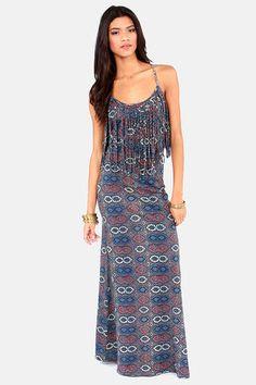 RVCA Burder Dress - Maxi Dress - Print Dress - Blue Dress - $54.00