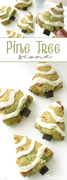 These matcha green tea and white chocolate scones look like little pine trees with their dark chocolate trunks and cream cheese snow.