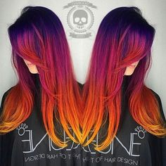 Sunset hair is the most beautiful ombre hair tint we've ever seen Cheveux Oranges, Sunset Hair, Red Ombre Hair, Orange Ombre, Orange Yellow, Purple Hair, Fire Hair, Bright Hair Colors, Bright Colored Hair